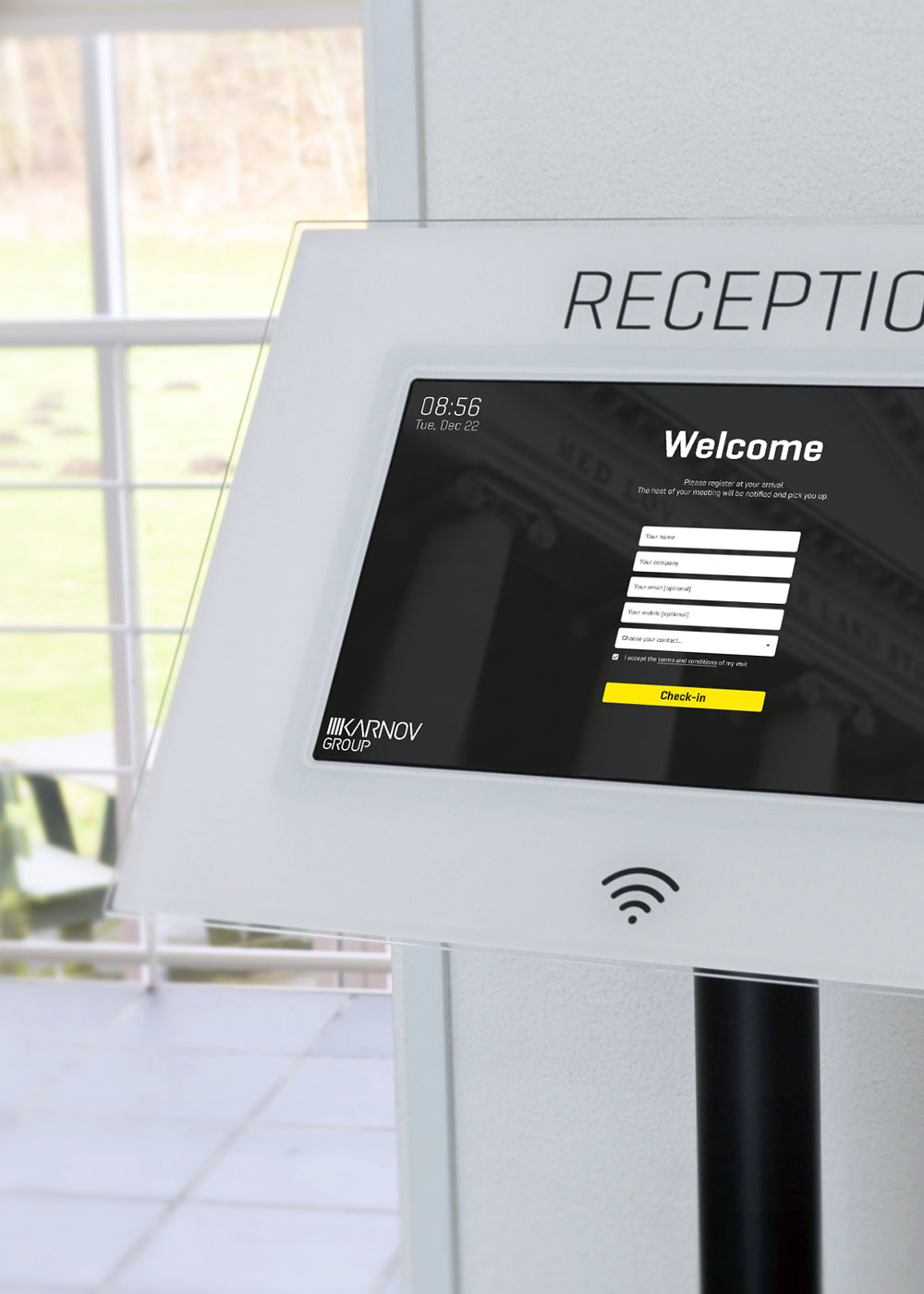 Welcome kiosk in the Reception